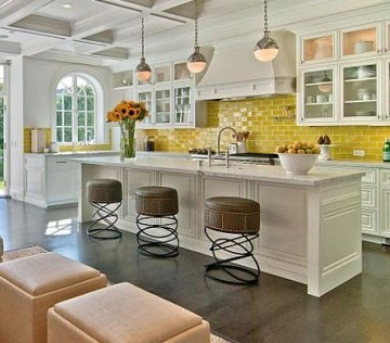 kitchen with yellow grout or a beautiful kitchen with yellow accents