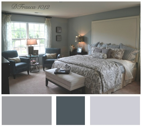 blue gray color scheme bedroom