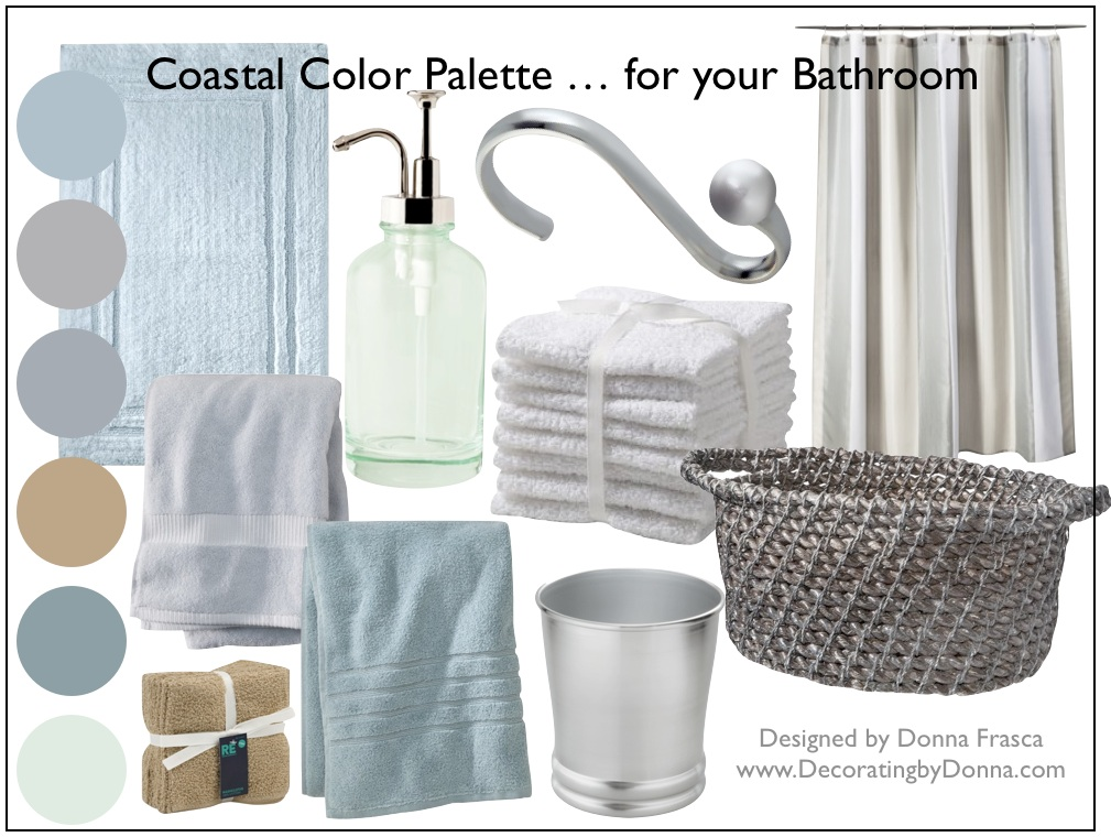 A coastal color palette for your bathroom decorating by Bathroom color palettes