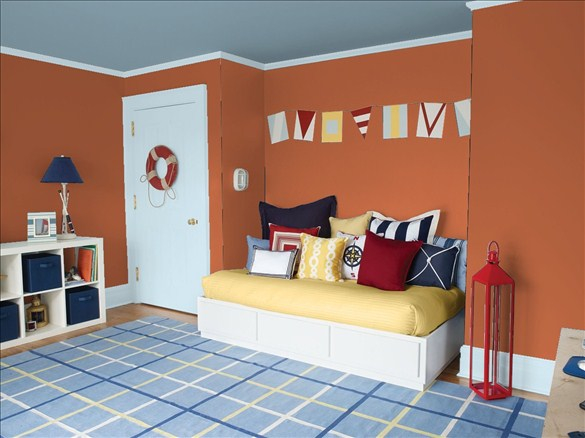 just because a color has had a bad reputation over the years doesnu0027t mean you canu0027t give it new life look at this kids room u2013 itu0027s a rust wall with a