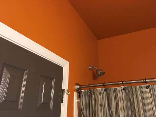 Look how great color on the ceiling looks decorating by for Bathroom ceiling color